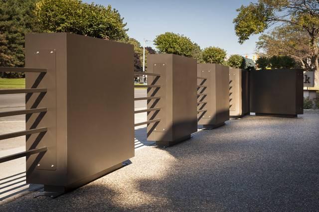Restaurant Patio Planters Metal Tubing Fence Industrial Landscape