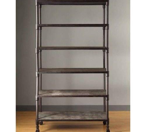 Restoration Industrial Hardware Style Crate Barrel Grey Bookcase