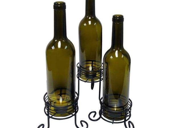 Results Epicureanit Recycled Wine Bottle Candle Holders Set