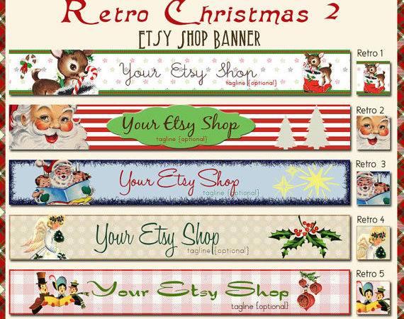Retro Christmas Etsy Shop Banner Set Your Choice Pre Made