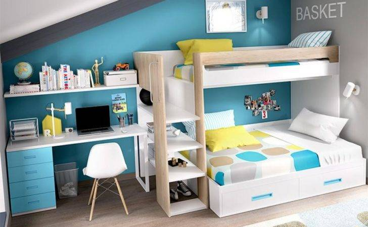 Rimobel Modern Bunk Bed Under Storage Desk