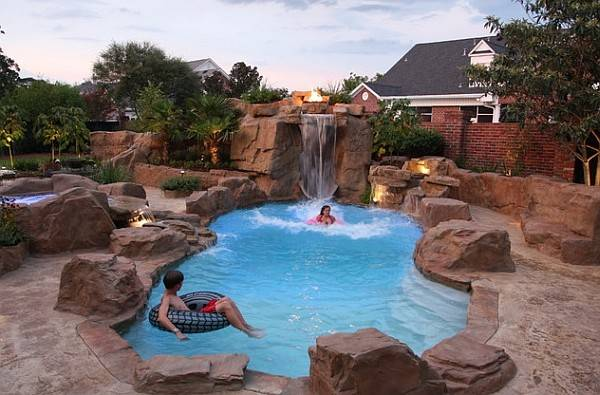 Rock Swimming Pool Captivating Grand Waterfall Feature
