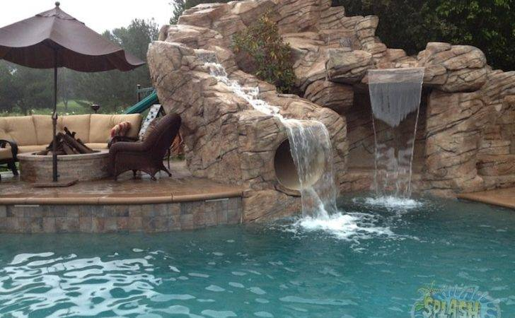 Rock Waterfall Slide Splash Pools Construction Chino