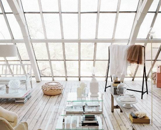 Romantic White Loft Huge Windows Sweden Interior Design