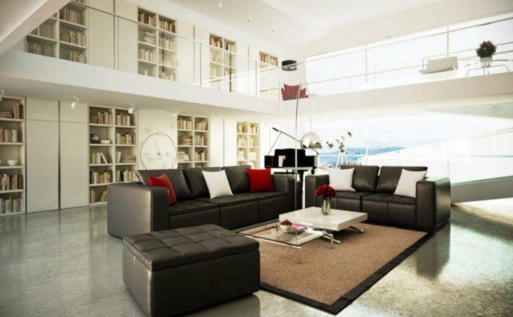Room Elegant Black Leather Sofa Furniture Have Red White