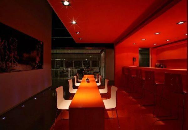 Room Red Rugs Ceiling Floor Modern Office Interior Design