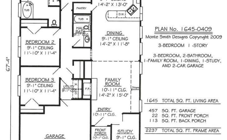 Room Study Car Garage Feet House Plan