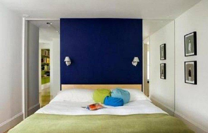 Room Tiny Bedroom Dark Royal Blue Accent Wall Painting Colors