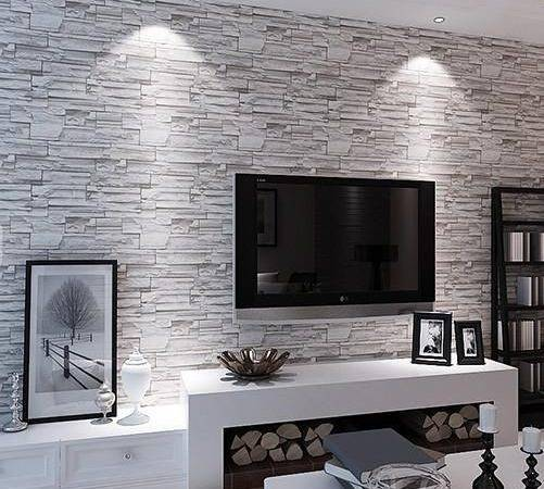 Rooms Stone Pattern Living Room Walls