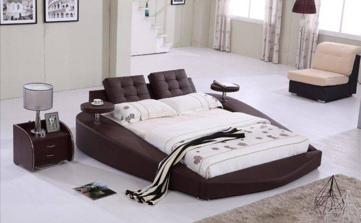 Round Bed King Top Grain Leather Headrest Soft
