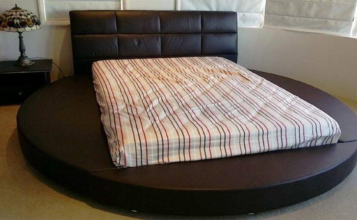 Round Bed Queen Brown Leather
