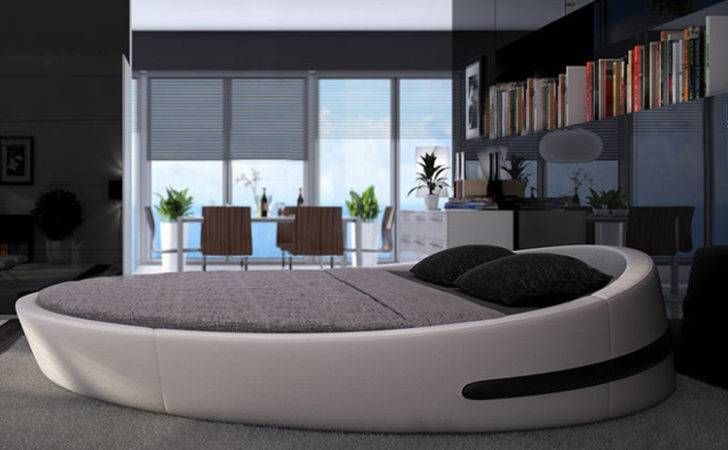 Round Bed Top Grain Leather Soft Villa King Zise Beds