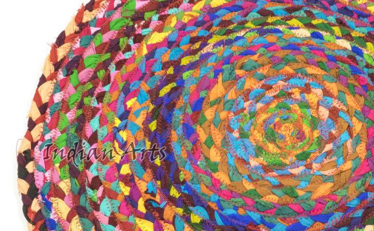 Round Chindi Recycled Cotton Rag Rug Shabby Chic Red Green Blue Yellow