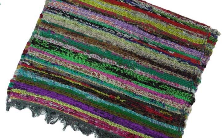 Runner Hand Woven Indian Chindi Cotton Rag Rug Throw Recycled Mat Dari