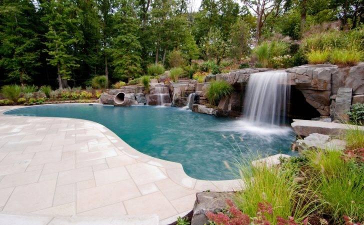 Rushing Waterfalls Inground Pool Features Four