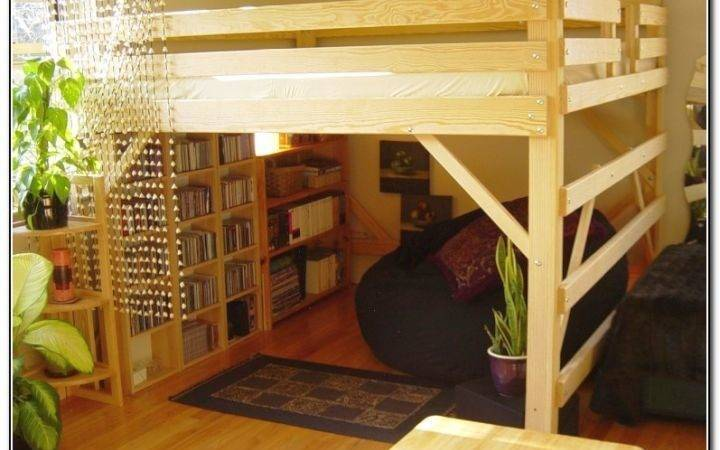 Rustic Adult Loft Bed Stairs Bookshelf Bottom