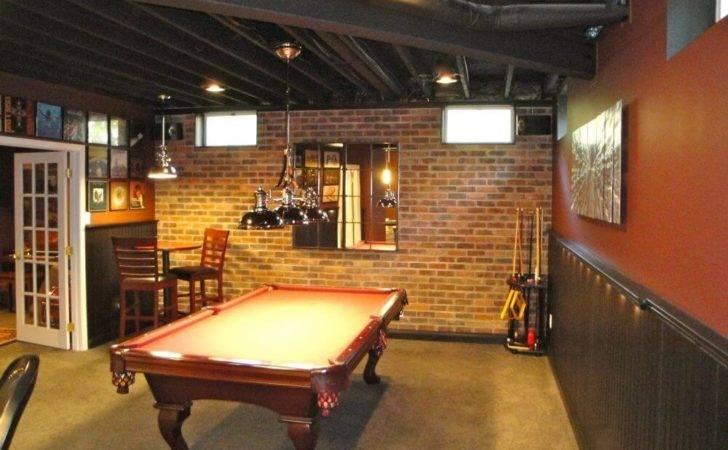 Rustic Basement Man Cave Billiards Room Brick Wall Exposed