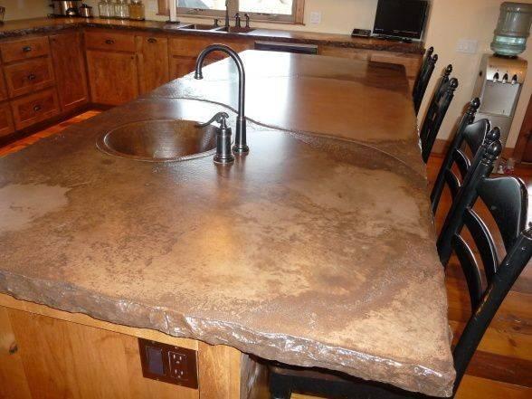 Rustic Cement Countertops Kitchen Alder