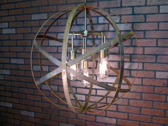 Rustic Chandelier Wine Barrel Ring Light Orb Ceiling Sphere