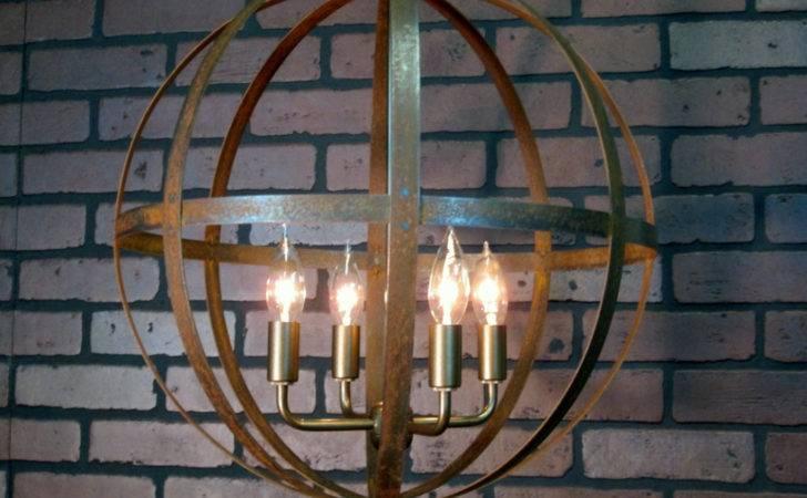 Rustic Chandelier Wine Barrel Ring Light Orb Ceiling