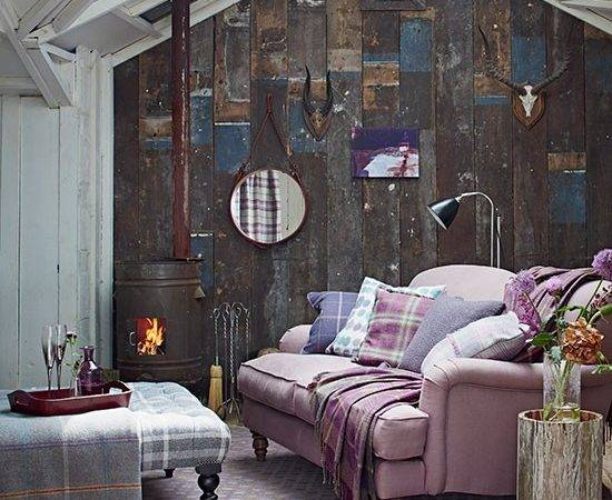 Rustic Country Living Room Heather Sofa Decorating