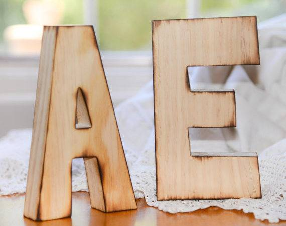 Rustic Distressed Large Wood Letters Wedding Bride Groom Set