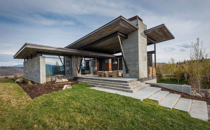 Rustic Exterior Contemporary Jackson Hole Retreat Enchanting