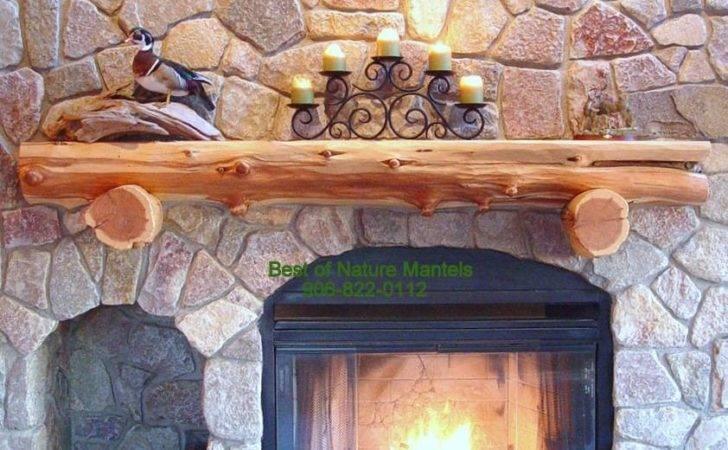 Rustic Fireplace Log Mantel
