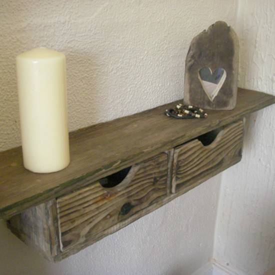 Rustic Floating Shelves Drawer Shelf