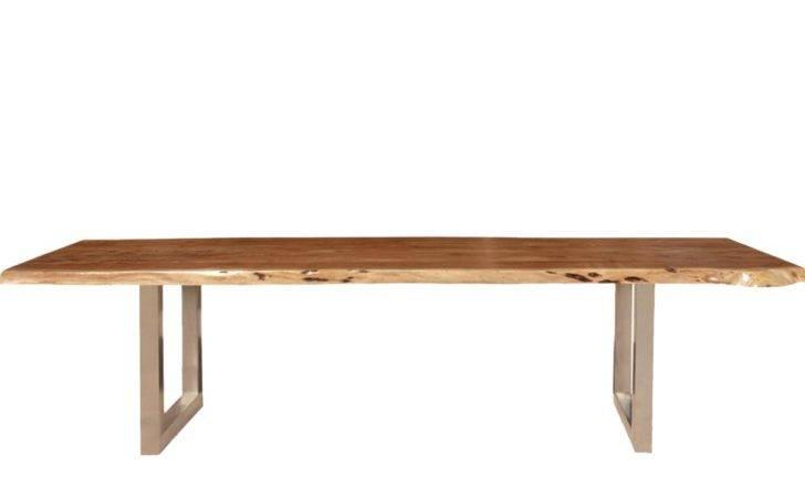 Rustic Furniture Modern Live Edge Dining Table Acacia Wood Iron