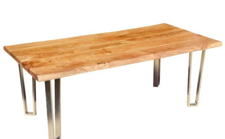 Rustic Furniture Solid Wood Iron Live Edge Dining Table