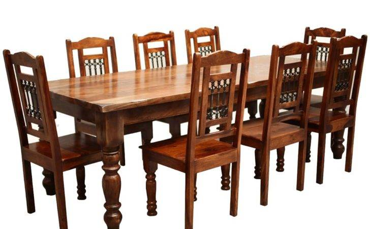 Rustic Furniture Solid Wood Large Dining Table Chair Set