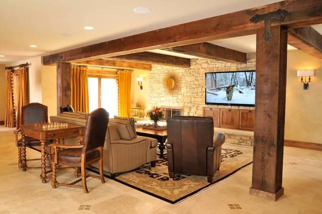 Rustic Lodge Style Basement Traditional Metro