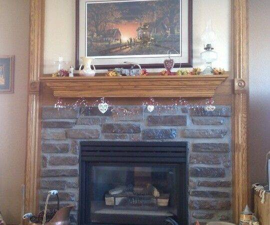 Rustic Look Gas Fireplace Had Royal Blue Ceramic