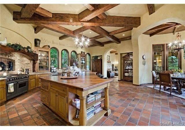 Rustic Mediterranean Kitchen Large Island Terra Cotta Wood Floors