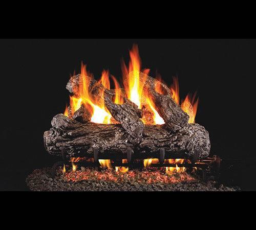 Rustic Oak Gas Log Set Fireplace Place