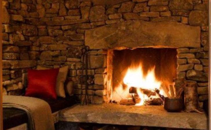 Rustic Stone Fireplace Chestnuts Roasting Open Fire Pint