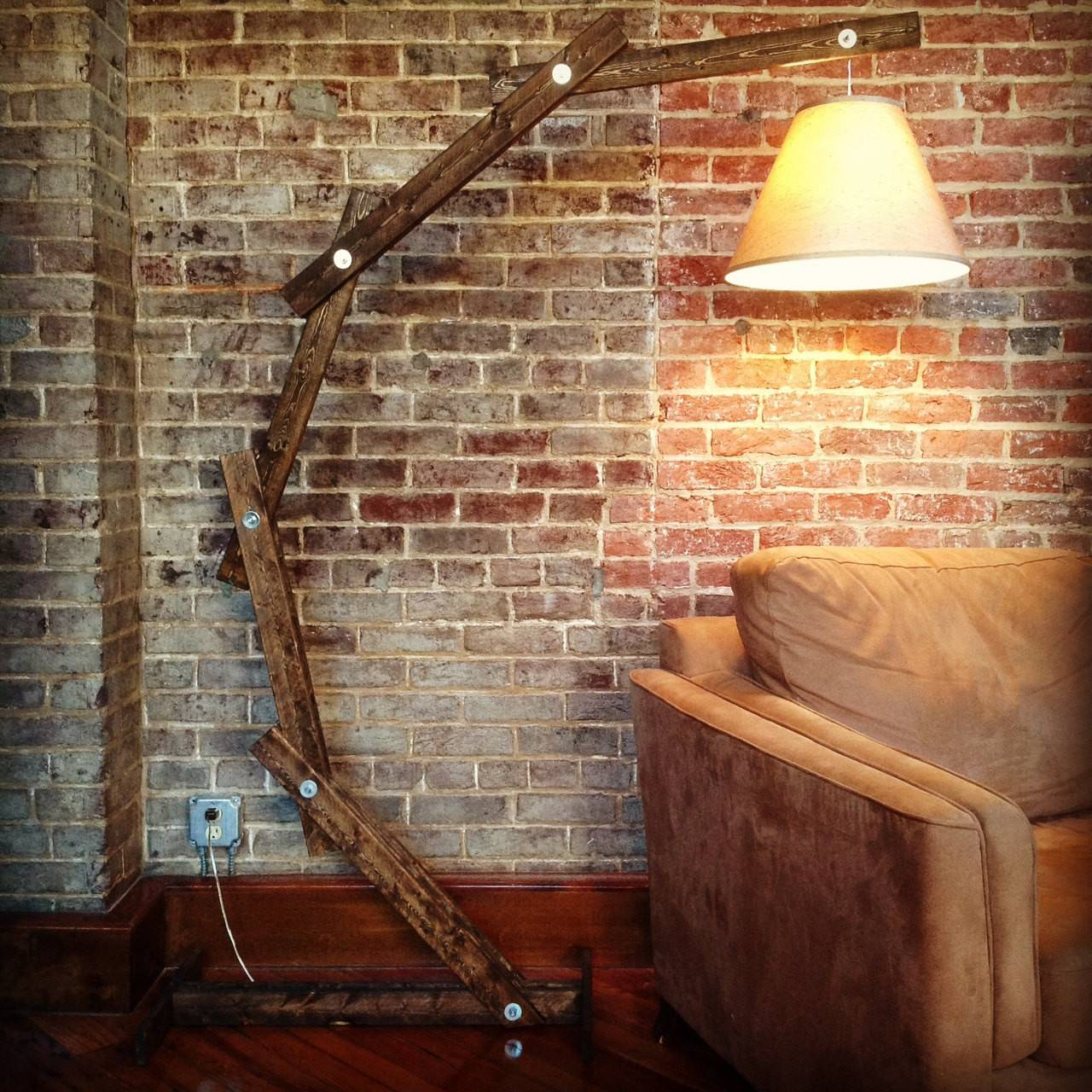 Rustic Wood Arc Floor Lamp Awalkthroughthewoods Etsy