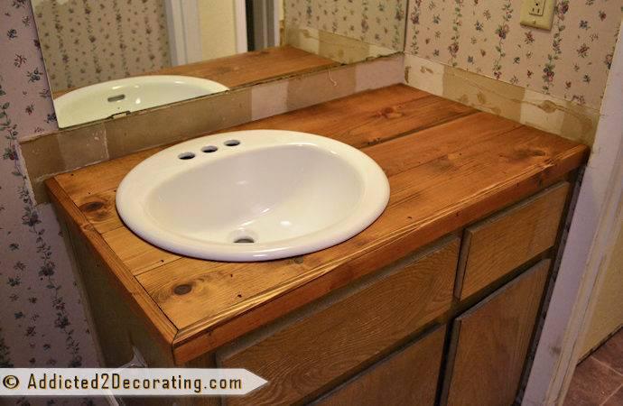 Rustic Wood Countertops Diy Bathroom Makeover Day