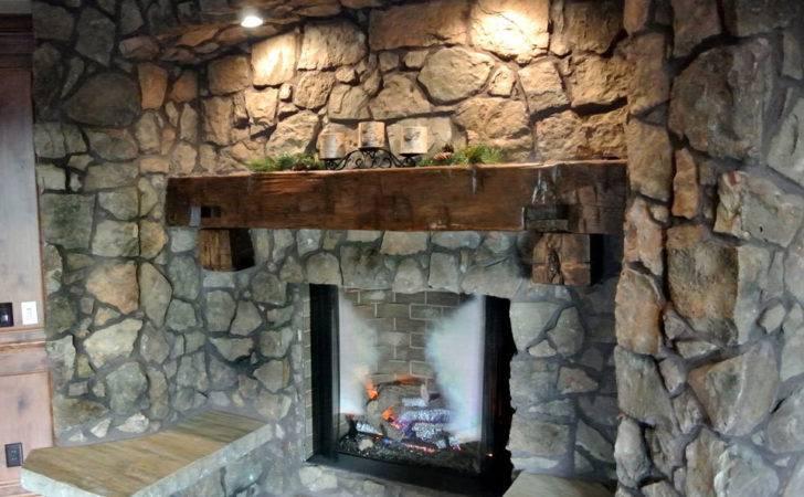 Rustic Wood Fireplace Mantel Modern Gas