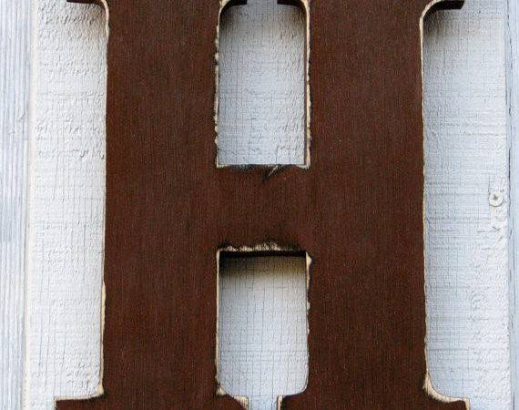 Rustic Wooden Letter Distressed Painted Dark Chocolate Tall Wood