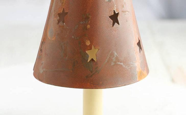 Rusty Tin Star Cutout Candle Lamp Shade Lighting