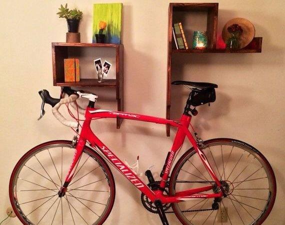 Sale Modern Wood Bike Rack Wall Shelves Cubby Handmade