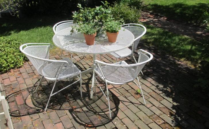 Salterini Vintage Iron Patio Table Chairs Bertolinico