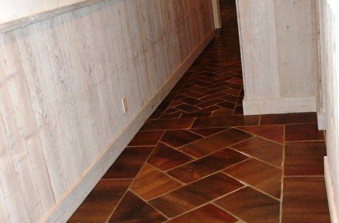 Saltillo Manganese Tile Installed Herringbone Pattern