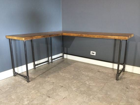 Salvaged Reclaimed Shaped Wood Desk Interchangeable Industrial