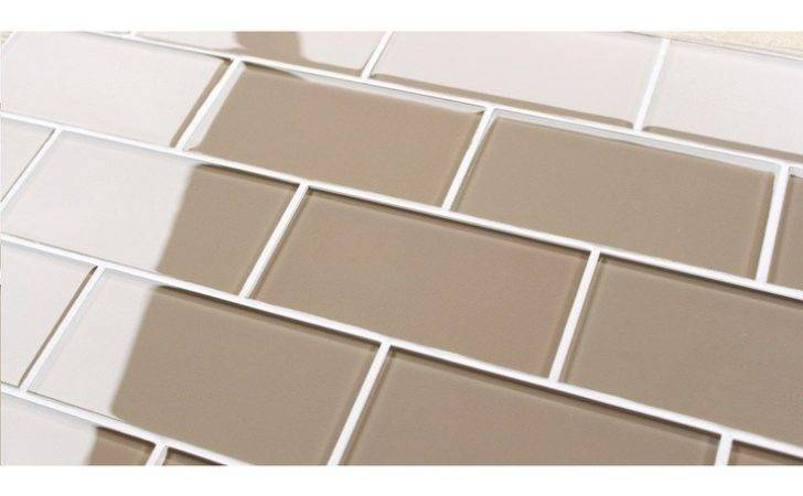 Sand Colored Glass Tile Using Artisian Brown Chocolate