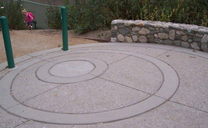 Sandblasted Concrete Smooth Banding Inspired Water Rings