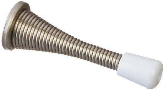Satin Nickel Flexible Spring Door Stop Rubber Tip Ebay