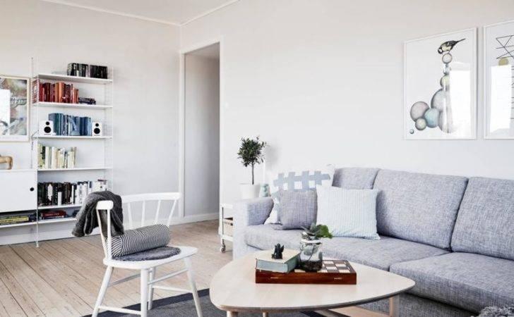 Scandinavian Living Room Round Wicker Coffee Table